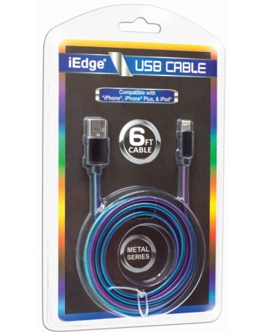 6 Ft Metal Rainbow iPhone USB Cable