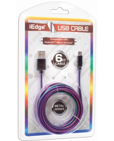 6 Ft Metal Rainbow Micro USB Cable