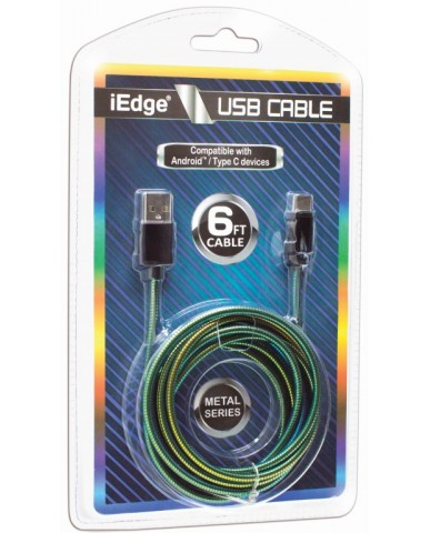 6 Ft Metal Rainbow Type C USB Cable