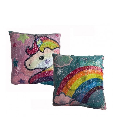 "16"" Unicorn/Rainbow Reversible Sequin Pillow"