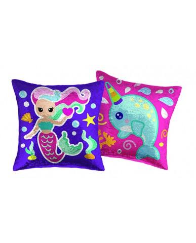 "16"" Mermaid/Narwhal Reversible Sequin Pillow"