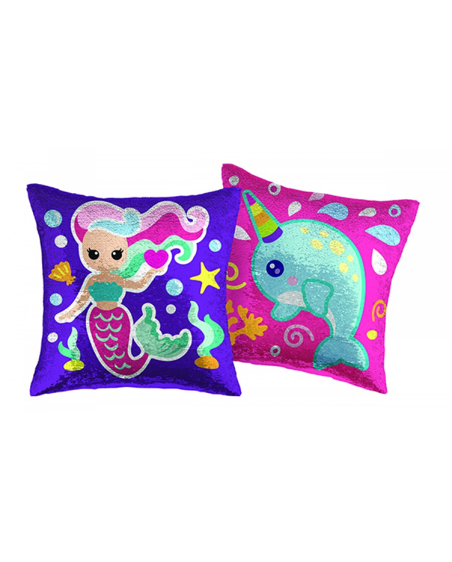 "16"" Mermaid/Narwhal Reversible Sequin Pillow"