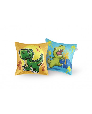 "16"" Dinosaur Reversible Sequin Pillow"