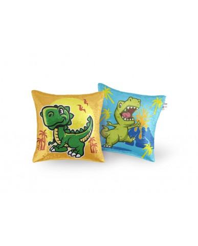 "16"" Dinosaur Reversible Sequin Pillow"