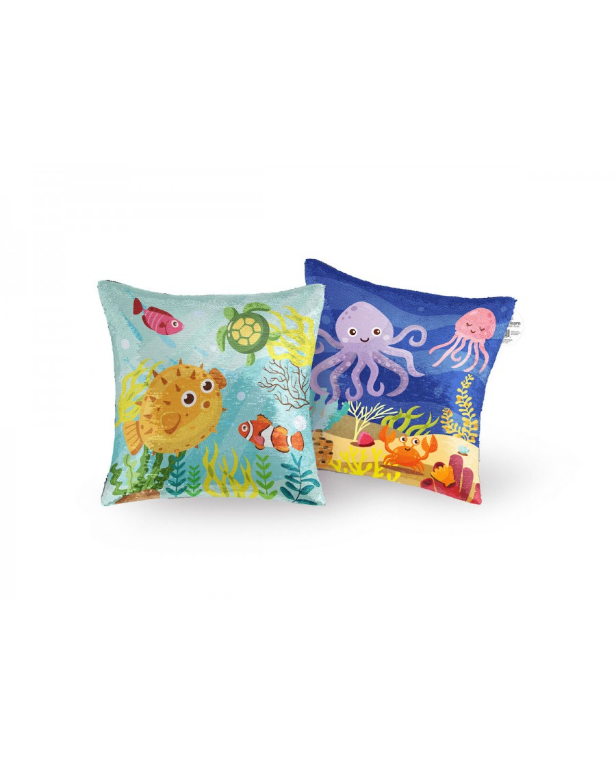 "16"" Sea Life Reversible Sequin Pillow"