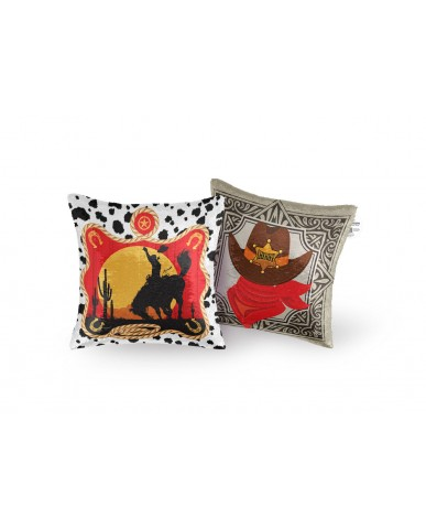 "16"" Western Reversible Sequin Pillow"