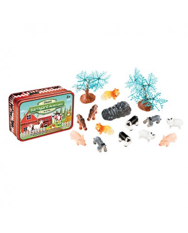 Barnyard Animals Play Set in a Tin