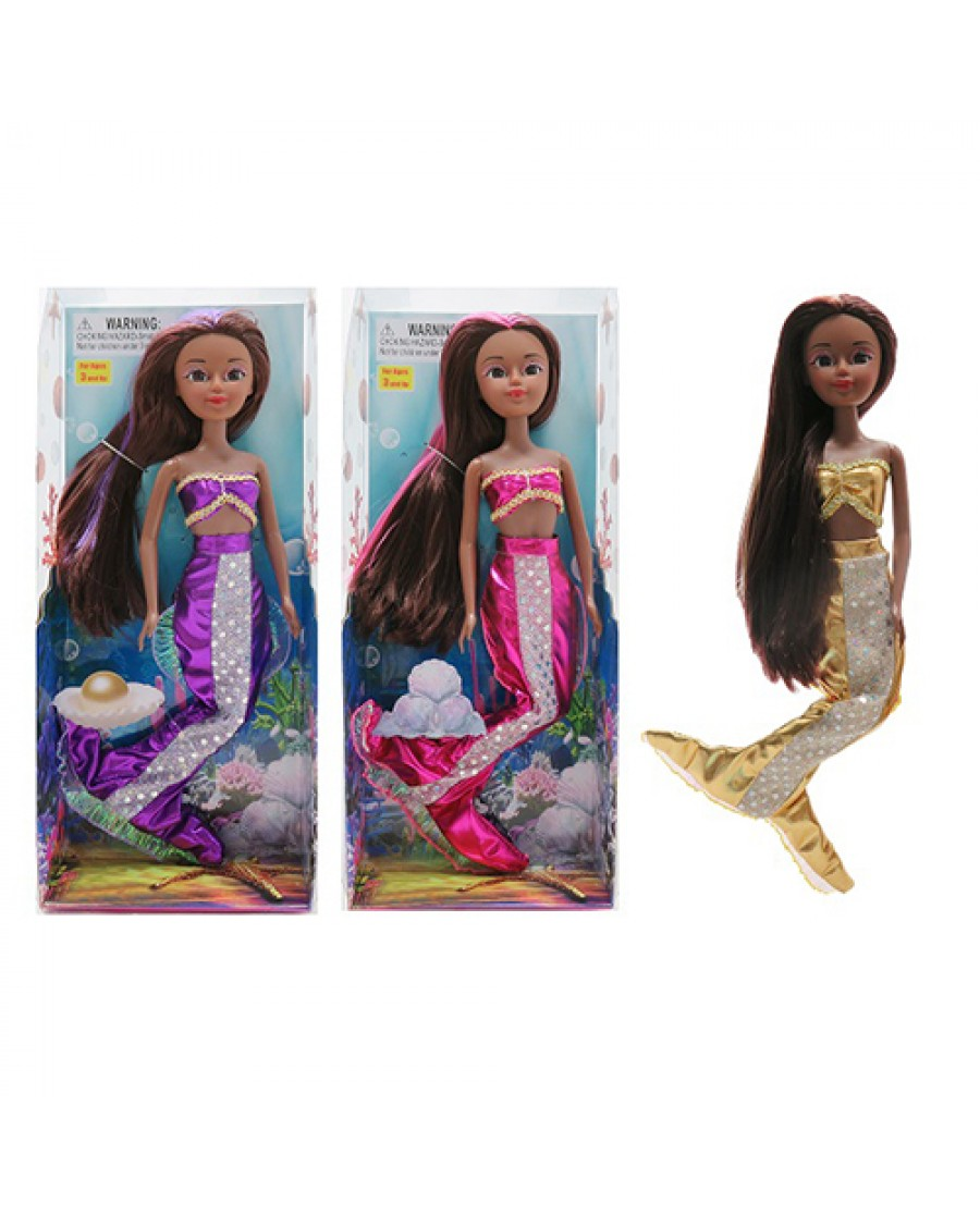 "12"" Sparkle Mermaid Doll African American"