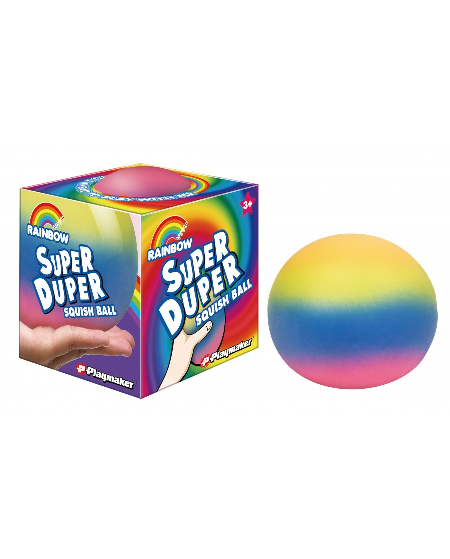 "4"" Super Duper Rainbow Squish Dough Ball"