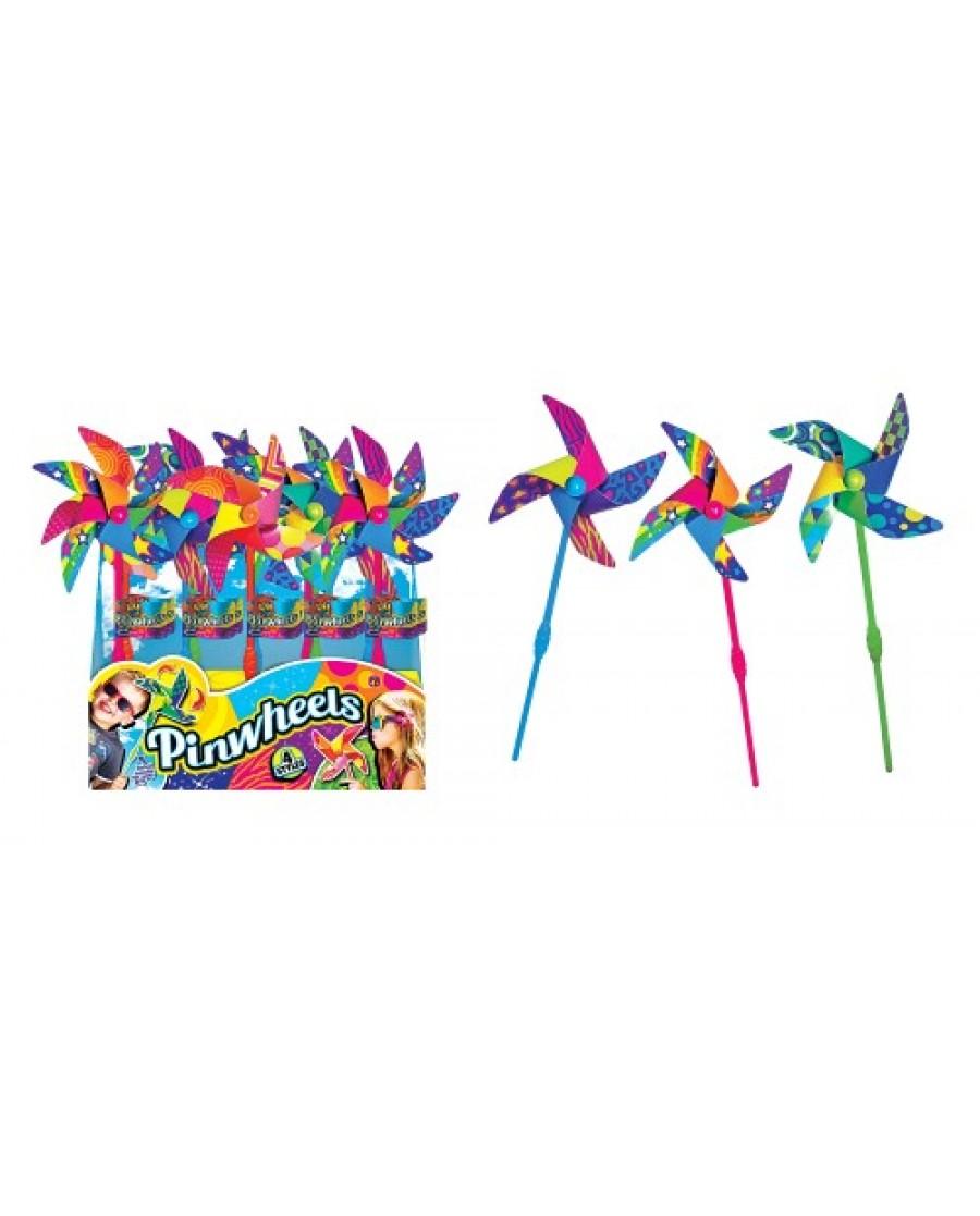 "14"" Patterned Plastic Pinwheels"