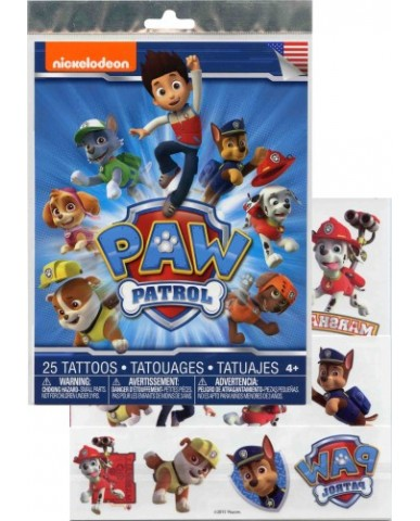 Paw Patrol 25pc Tattoo Sheet