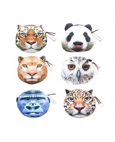 "4.5"" Zoo Animals Faces Coin Purse"