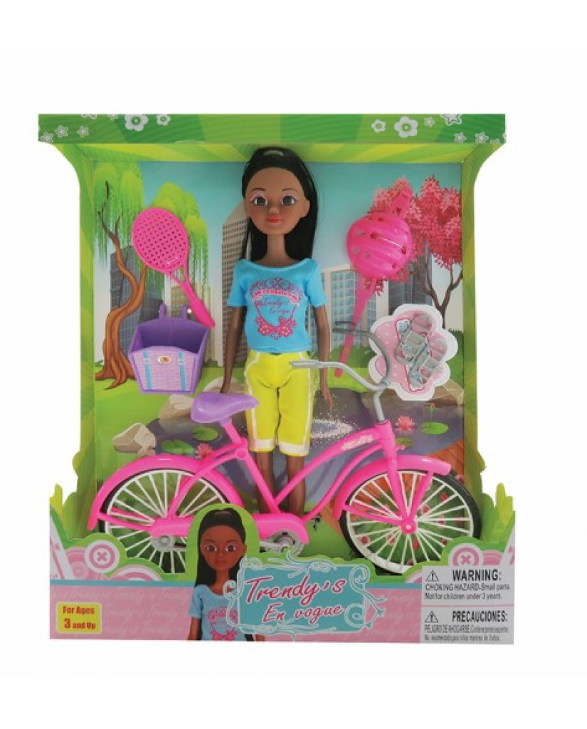 "12"" African American Doll with Bike & Accessories"