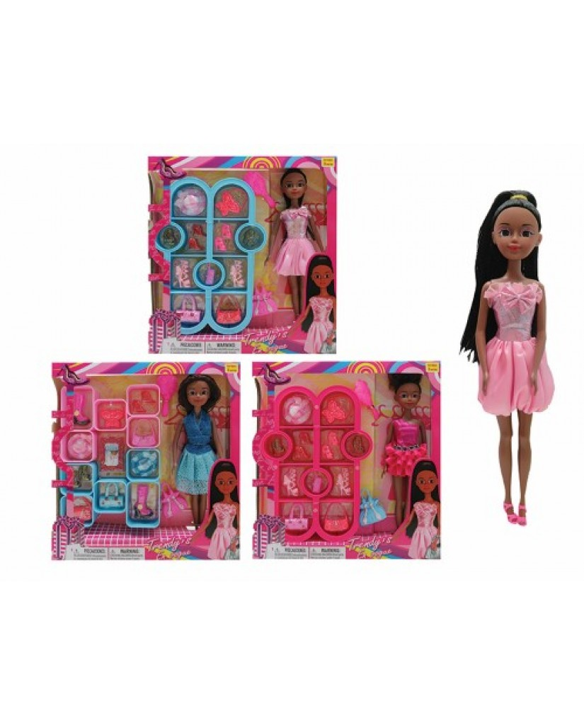 """12"""" African American Doll with Closet Accessories"""