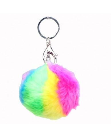 "3"" Tie Dye Pom Pom Key Ring"