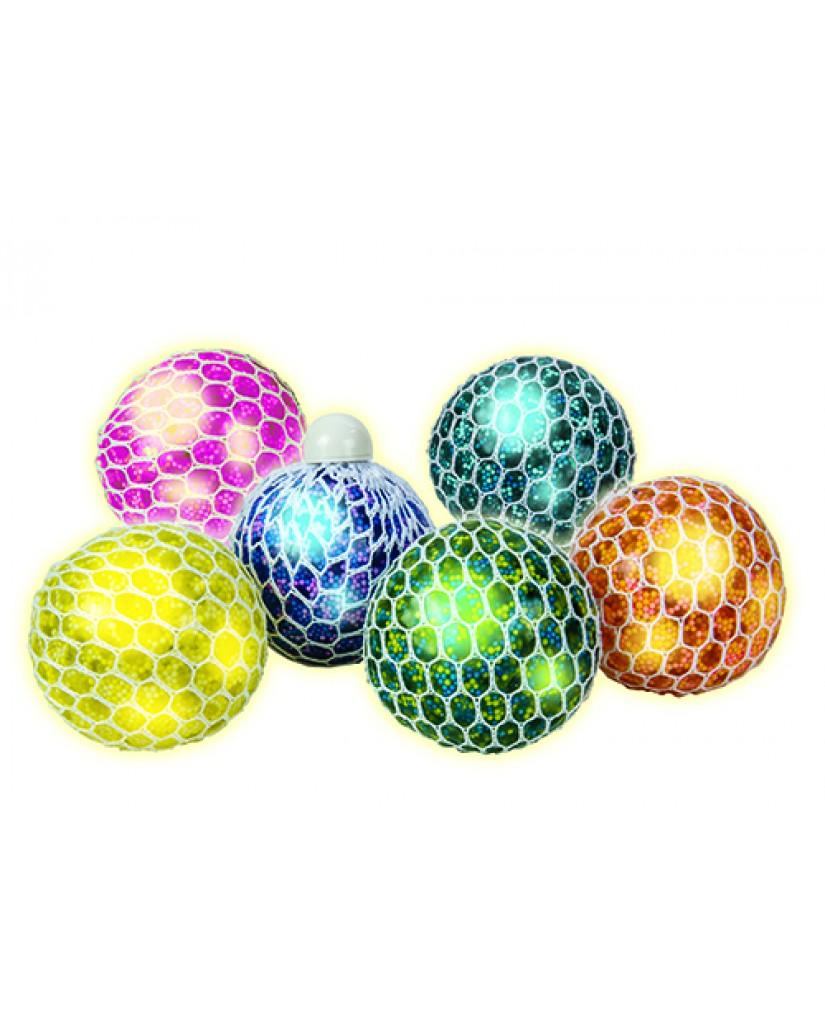 "3"" Light Up Squishy Bead & Foam Mesh Ball"