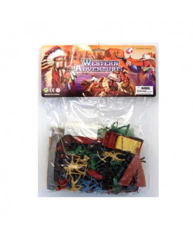 62 pc. Western Figurines Set with Play Mat