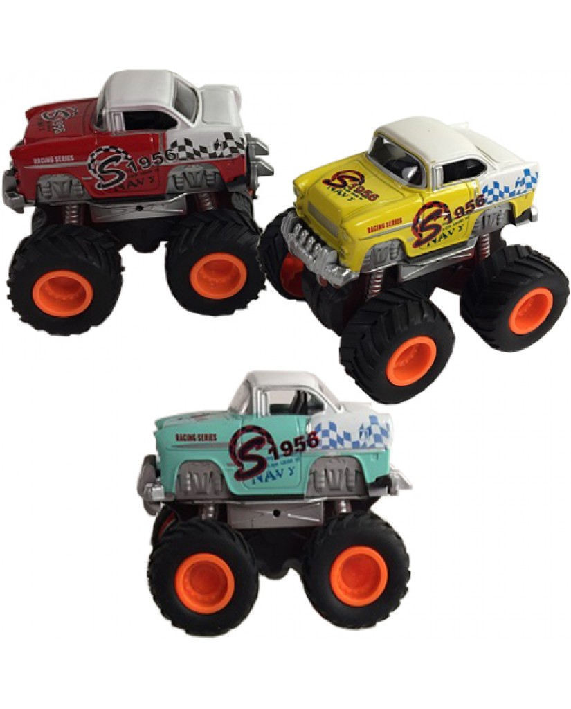 """3.5"""" Die Cast Mini Monster Friction Racing Coupe"""