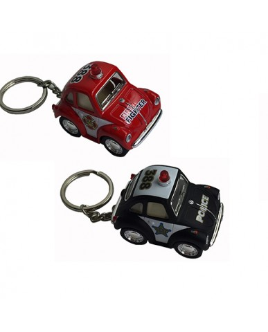 "2"" Die Cast Funny Mini Beetle Fire/Police Key Chain"