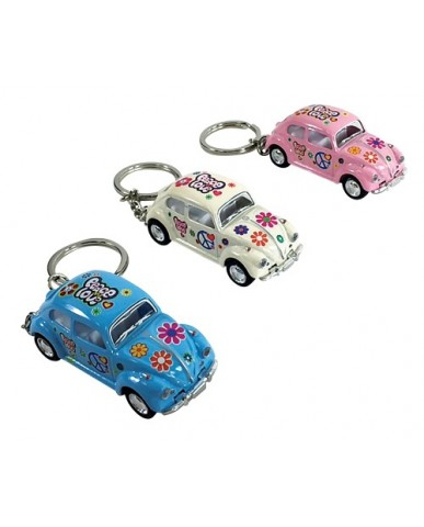 "2.5"" Die Cast Pastel Flower Power Classic VW Beetle Key Chain"