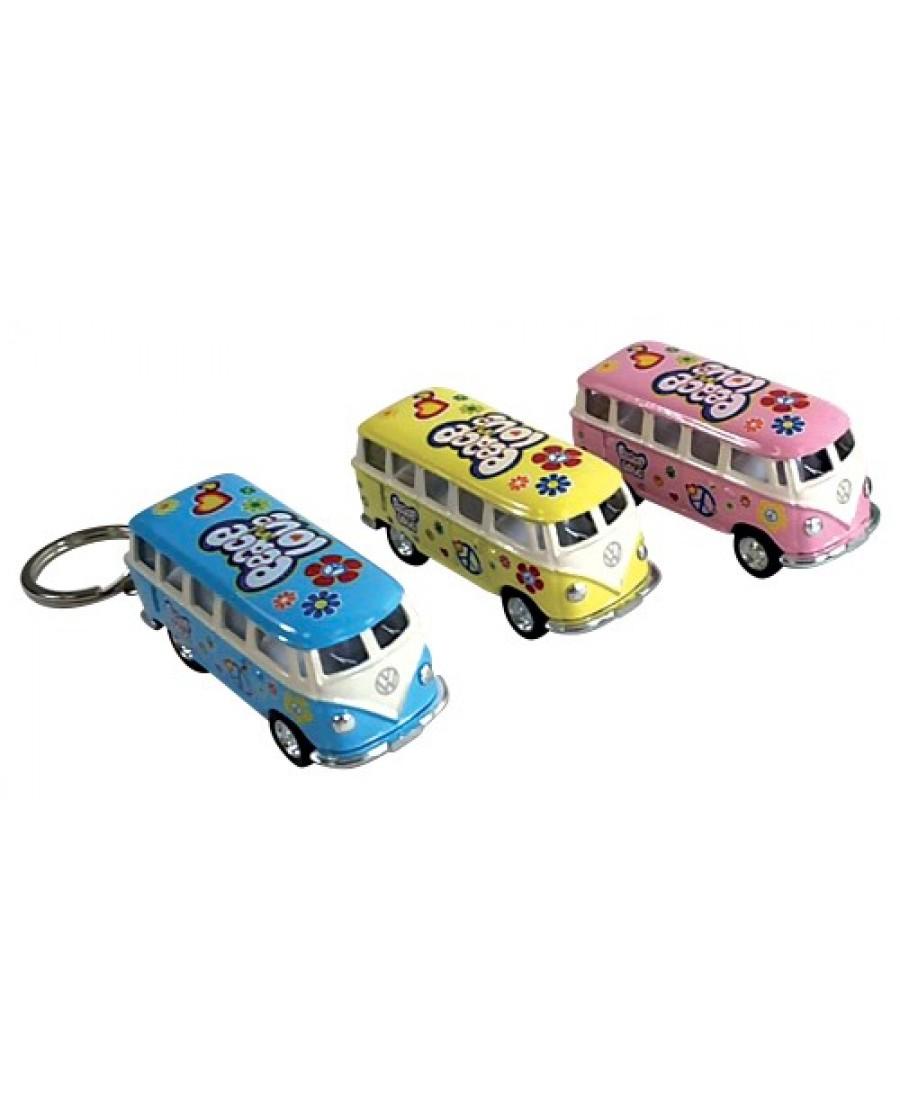 "2.5"" Die Cast Pastel Flower Power Classic VW Bus Key Chain"