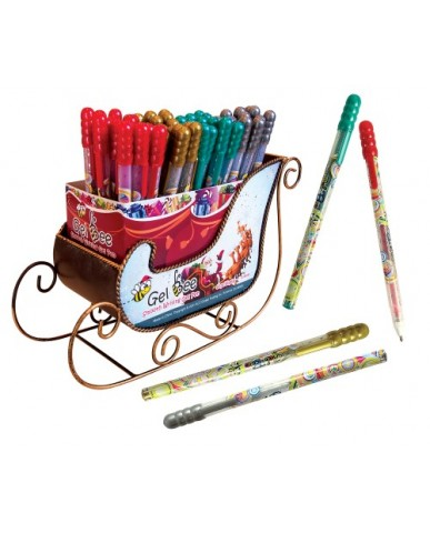 108 pc. Christmas Gel Pen with Sleigh Display