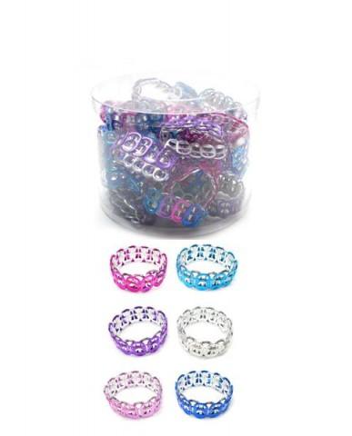 24pc Pop Top Silver/Gold Stretch Bangle Bracelets