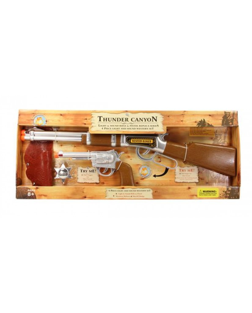 4pc Battery Operated Western Light & Sound Gun Set