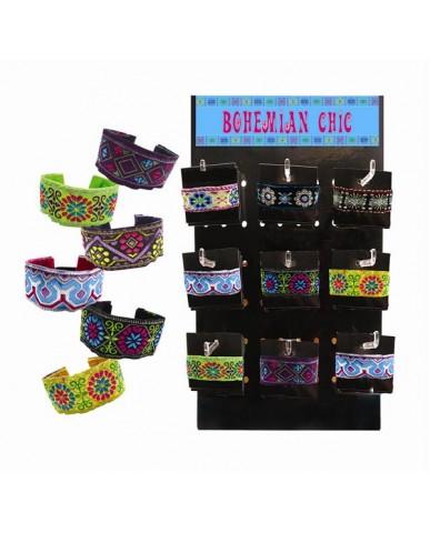 36 pc Stretch Bohemian Fabric Bracelets