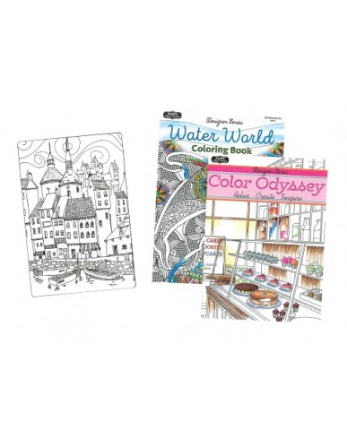 Water World & Color Odyssey Adult Coloring Books
