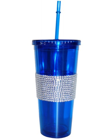 24oz Wide Silver Bling Band Drinking Tumbler