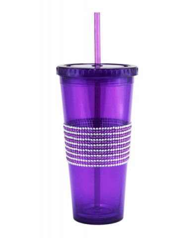 24oz 2-Tone Bling Band Drinking Tumblers
