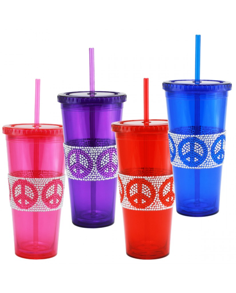 24oz Peace Sign Design Bling Drinking Tumblers