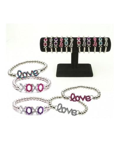 36 pc. Rhinestone XOXO & Love Icon Bracelets