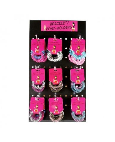 Assorted Polka Dot & Checkered 2-pack Coil Bracelet/Pony Tail Holders