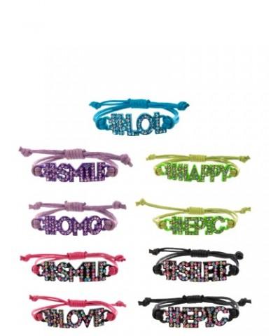 Hashtag Rhinestone Word Bracelets