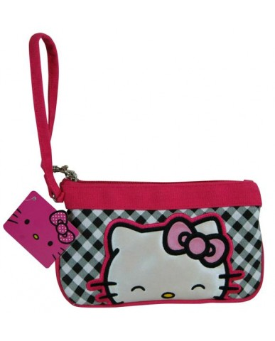 Hello Kitty Gingham Print Canvas Wristlet