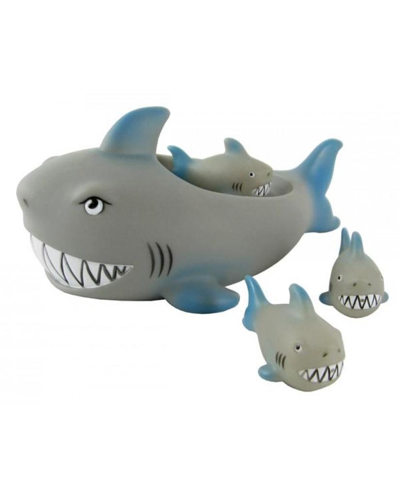 """8"""" Non-phthalate Shark Family Bath Toys"""