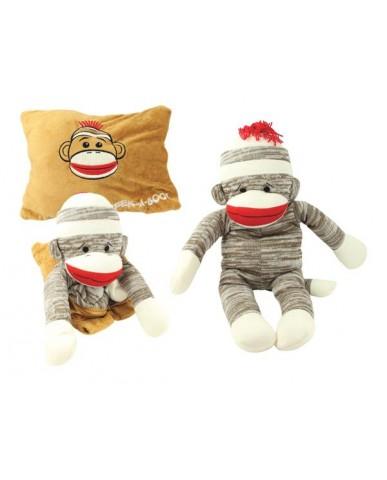 Peek-A-Boo Sock Monkey Pillow
