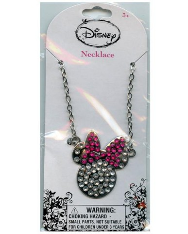 "Disney Minnie 18"" Metal Charm w/Bling Stones Necklace"