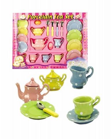 21 pc Porcelain Polka Dot Tea Set