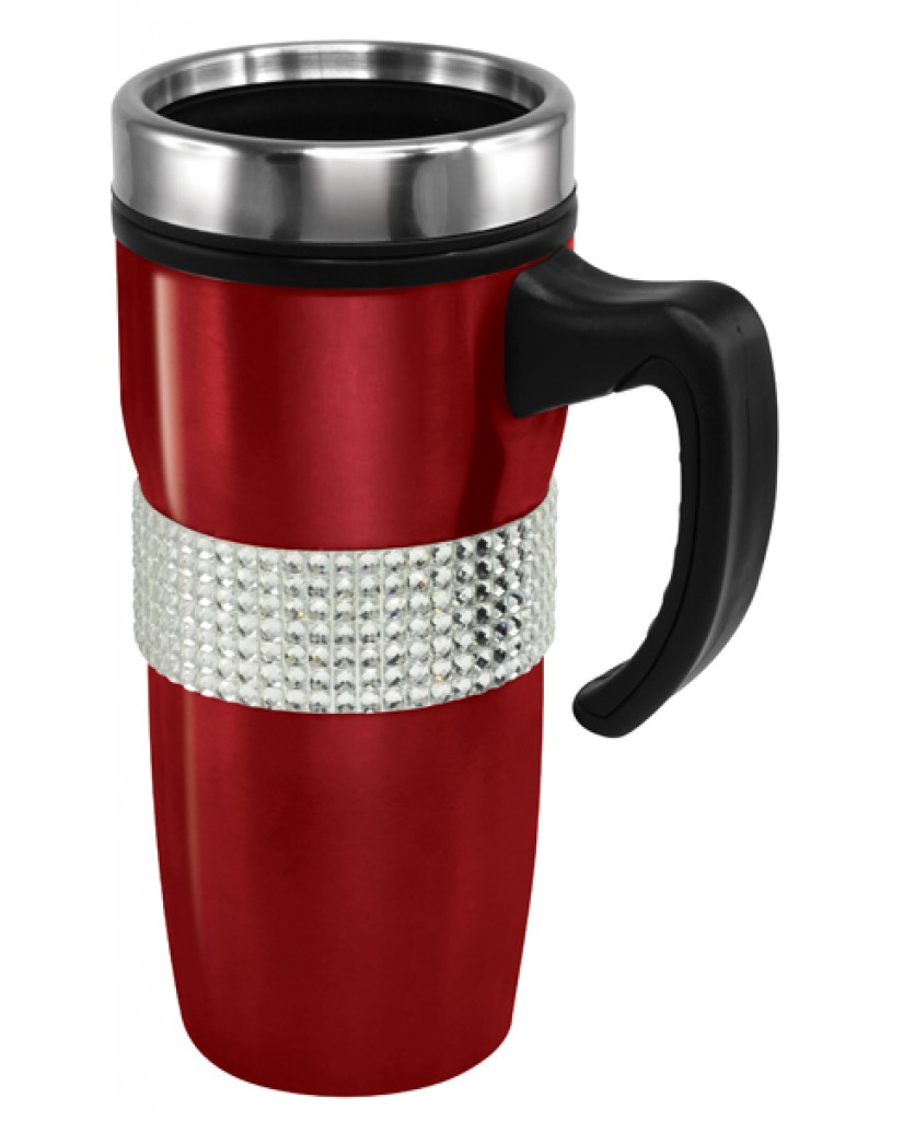 18 oz Silver Bling Band Stainless Steel Mugs with Handle