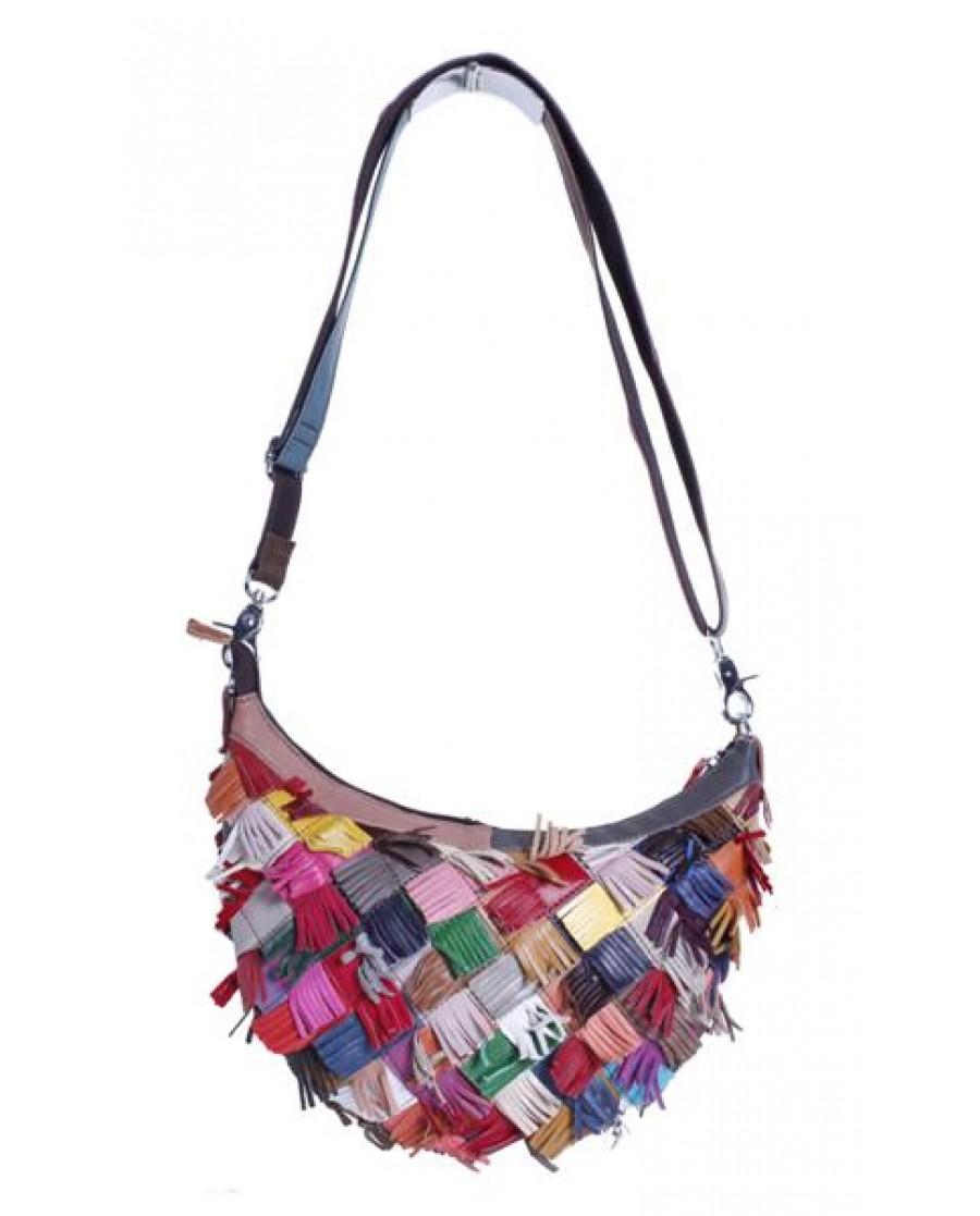 """""""Cascade"""" Multi Color Fringe Hobo Shoulder Bag"""