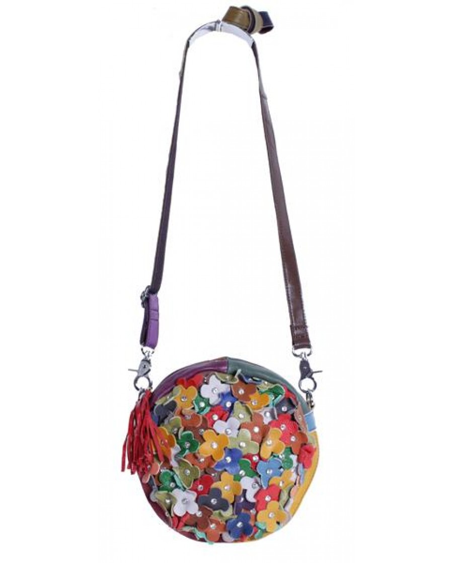 """Jardin"" Multi Color Patch Floral Canteen Shape Bag"