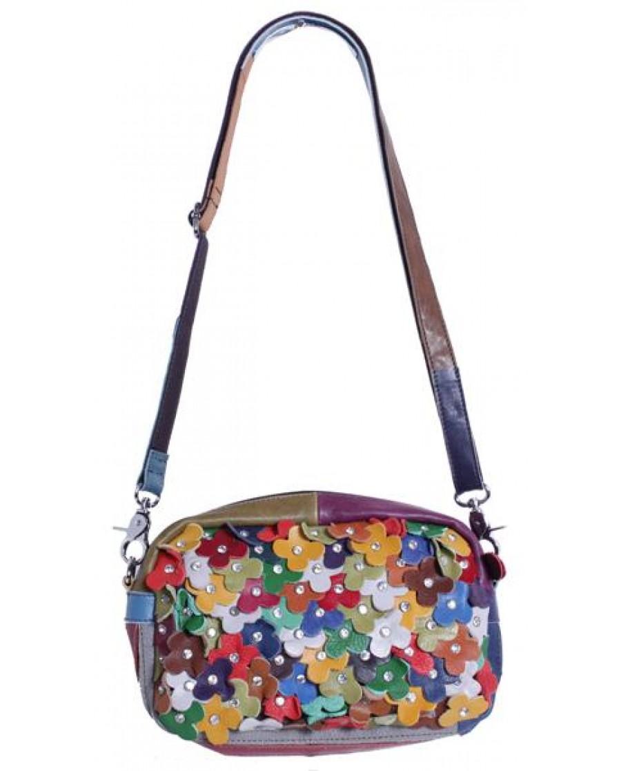 """""""Jardin"""" Multi Color Patch Floral Shoulder Bag"""