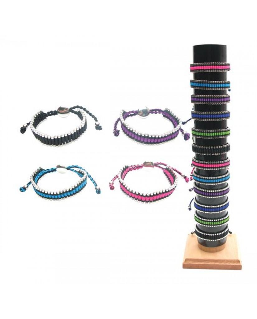 24pc Color Cord & Silver Bead Adjustable Bracelets