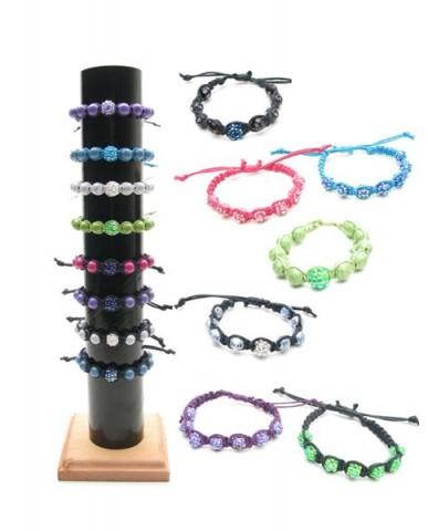 36pc Disco Ball Bling Braided Bracelets