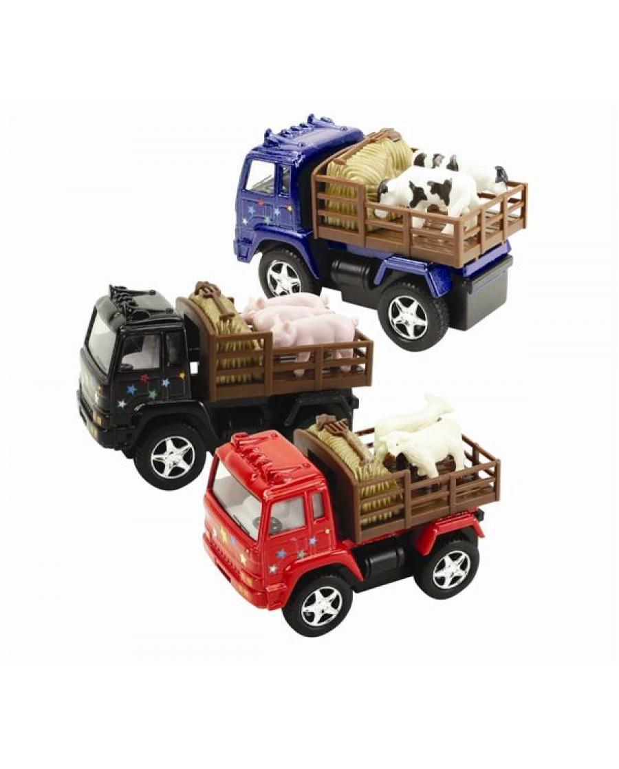 """3.25"""" Farm Animal Pullback Trucks"""