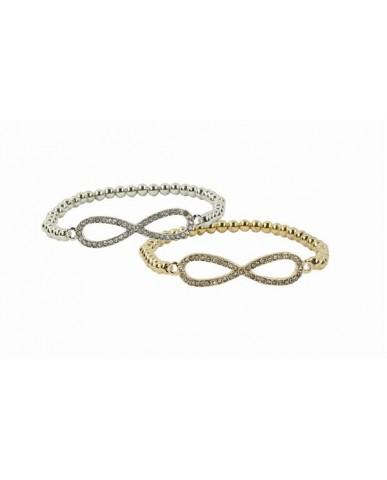 Bling Rhinestone Infinity Shot Bead Bracelet